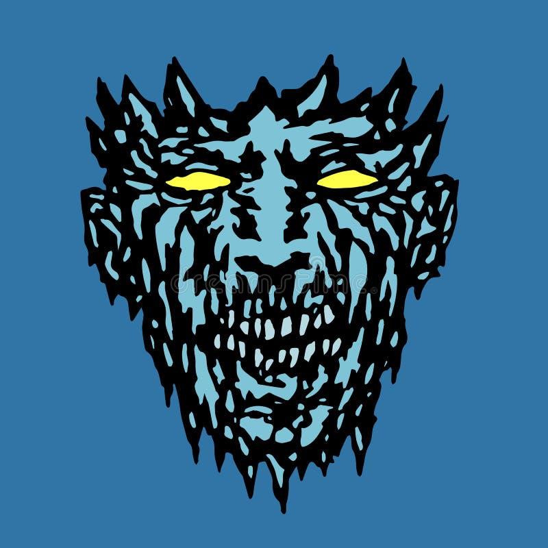 Zła potwór twarz również zwrócić corel ilustracji wektora ilustracji