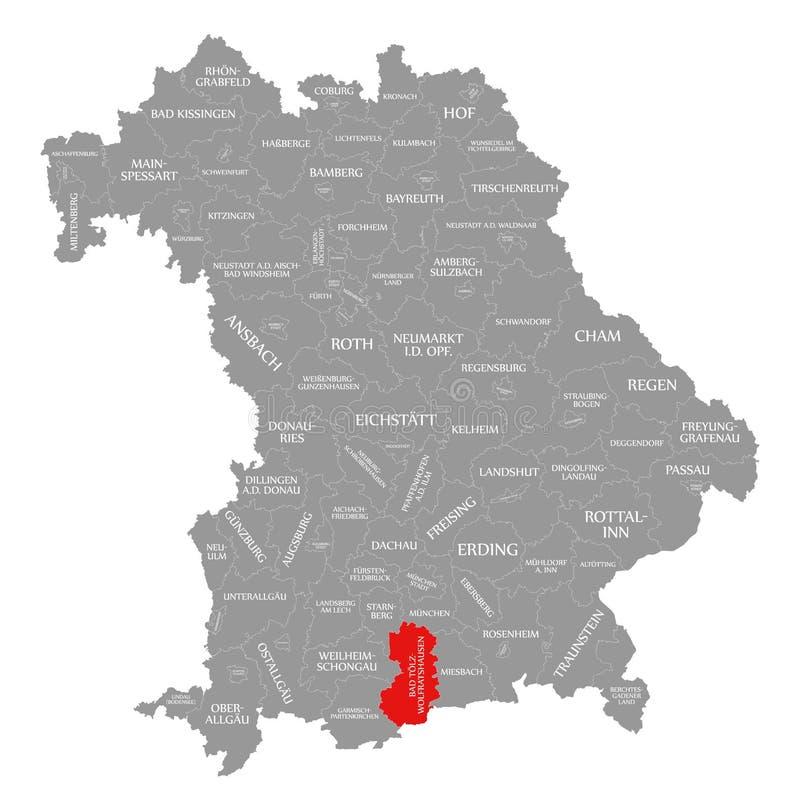 Zła Toelz-Wolfratshausen okręgu administracyjnego czerwień podkreślająca w mapie Bavaria Niemcy ilustracji
