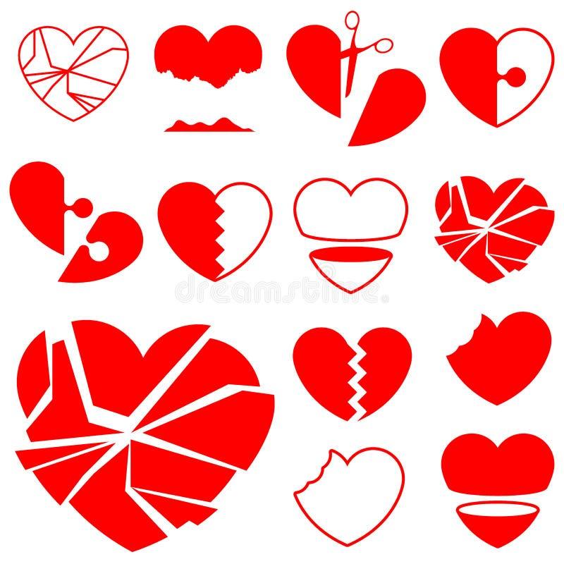 złamana zbioru ikona serca ilustracji