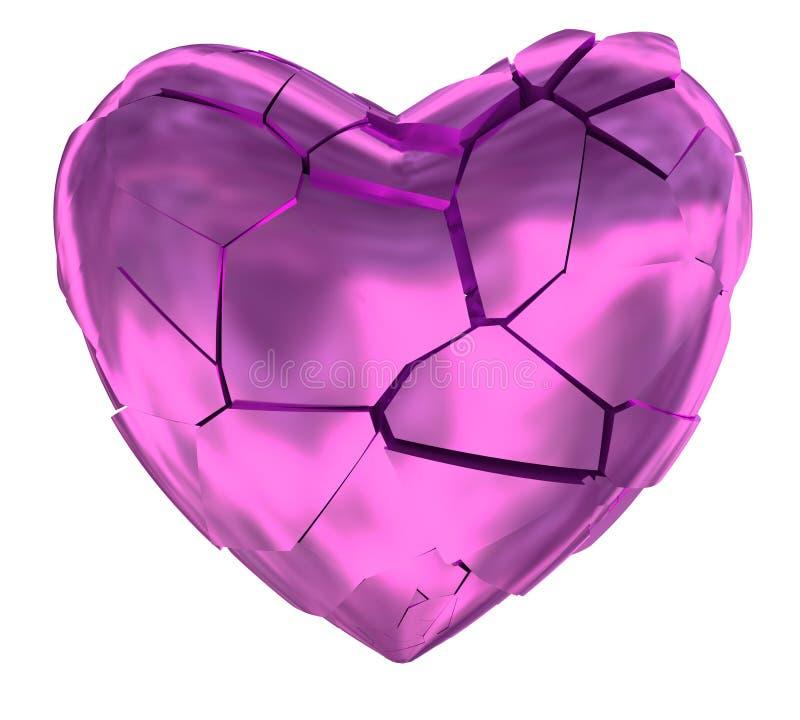 Złamane serce glansowany różowy symbol zdjęcia royalty free