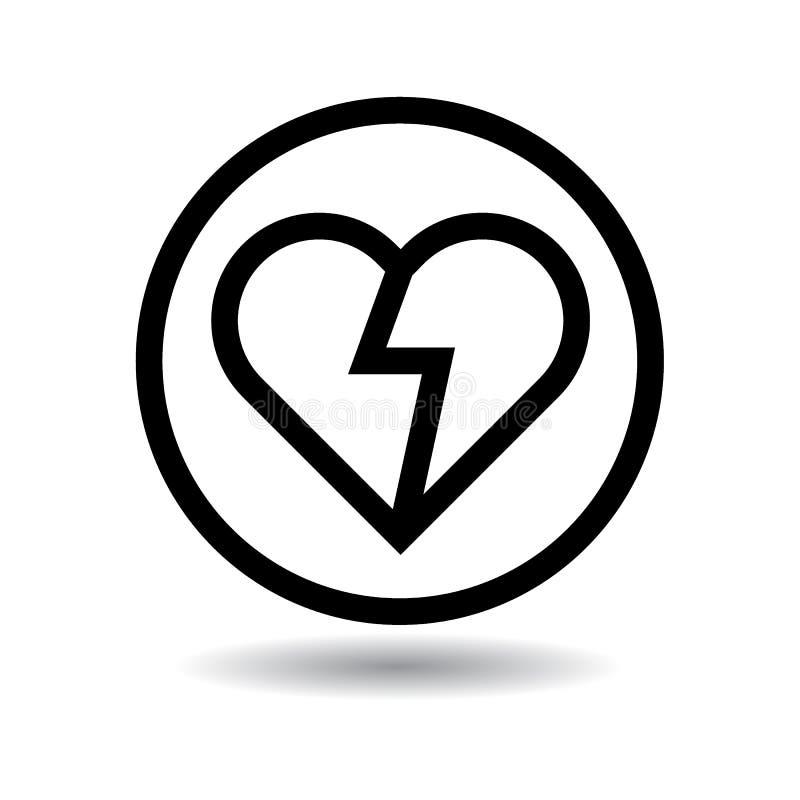 Złamane serce ikony czerń royalty ilustracja