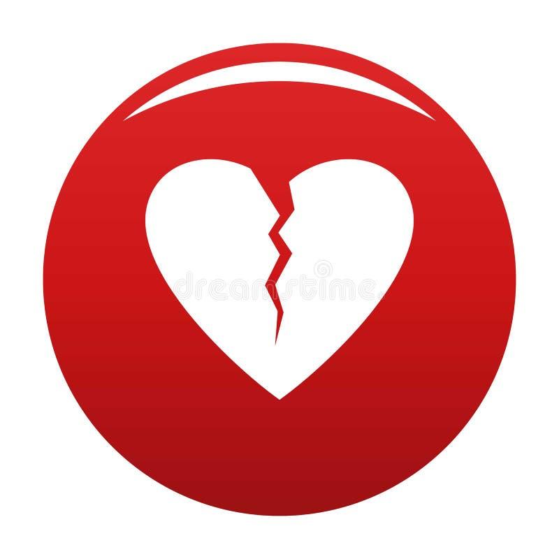 Złamane serce ikony wektoru czerwień ilustracja wektor