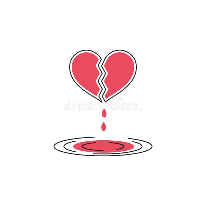 Złamane serce kreskowa ikona royalty ilustracja