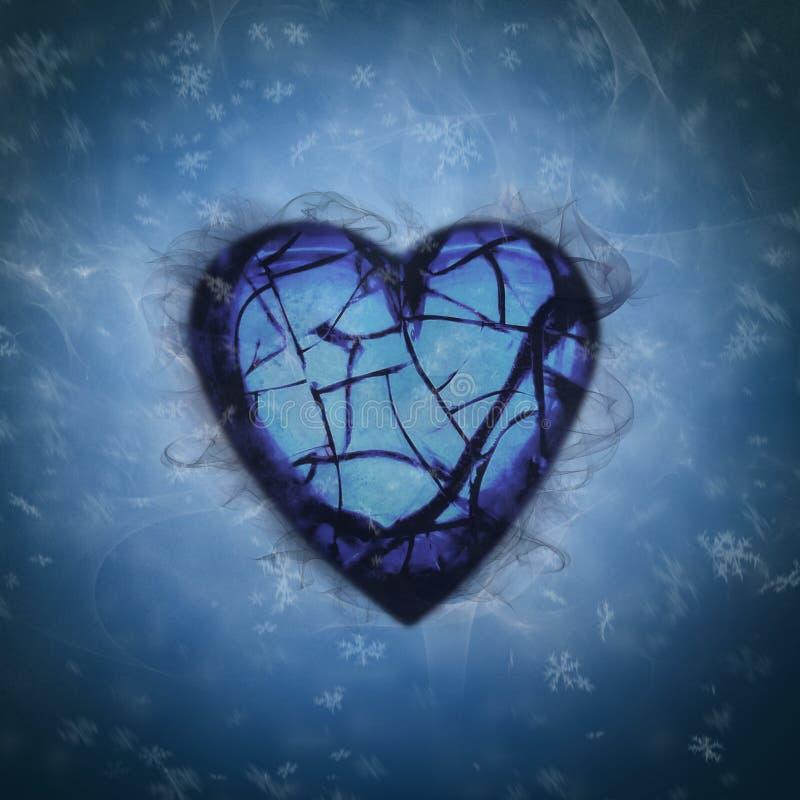 Złamane serce w śnieżnym wybuchu royalty ilustracja