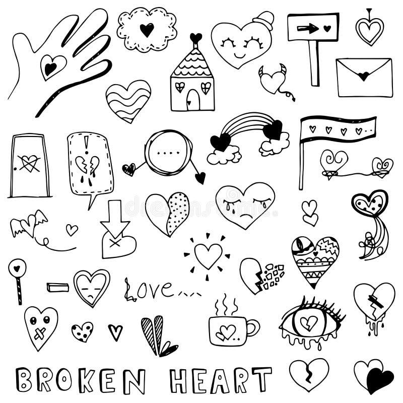 Złamanego serca i miłości doodle wektoru kierowy set royalty ilustracja
