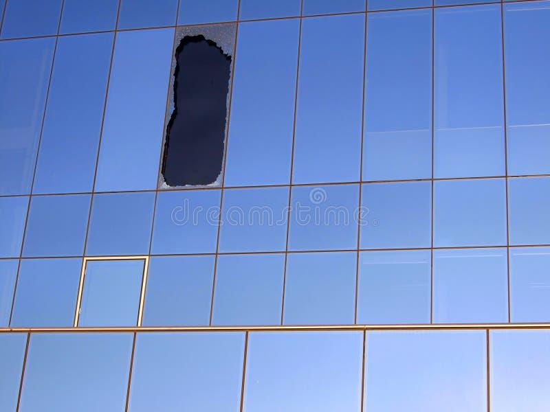 złamany wpływu okno obraz stock