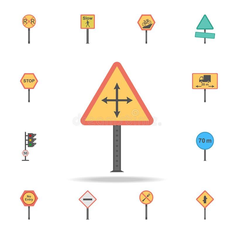 Złe warunki pogodowe barwiona ikona Szczegółowy set koloru drogowego znaka ikony Premia graficzny projekt Jeden inkasowe ikony dl ilustracji