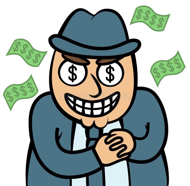 Złego pieniądze głodny mężczyzna w kostiumu ilustracja wektor