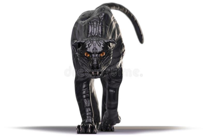 Złego przyglądającego cyborga czarna pantera z czerwony jarzyć się przygląda się odprowadzenie w kierunku kamery royalty ilustracja
