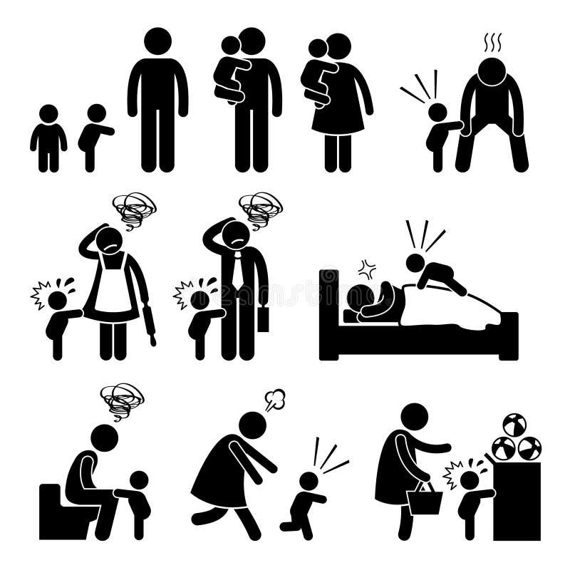 Złej hartowności berbecia dziecka napadu złości matki ojciec Cliparts ilustracji