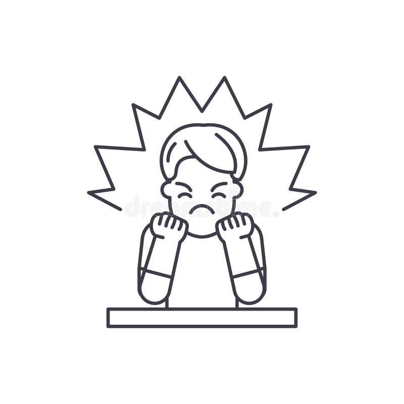 Złości ikony kreskowy pojęcie Gniewa wektorową liniową ilustrację, symbol, znak ilustracja wektor