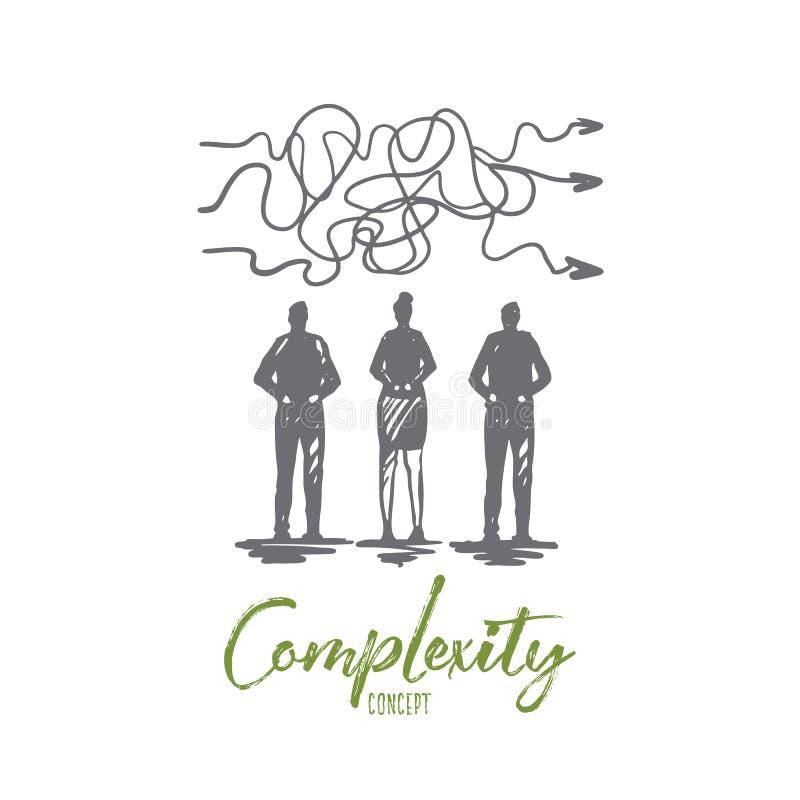 Złożoność, biznes, rozwiązanie, cel, strategii pojęcie Ręka rysujący odosobniony wektor royalty ilustracja