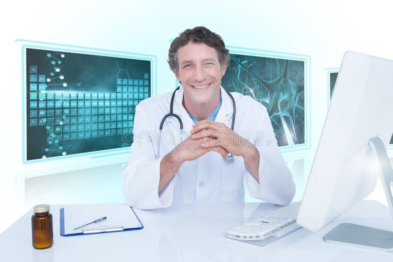 Złożony 3d wizerunek portret szczęśliwa lekarka fotografia stock