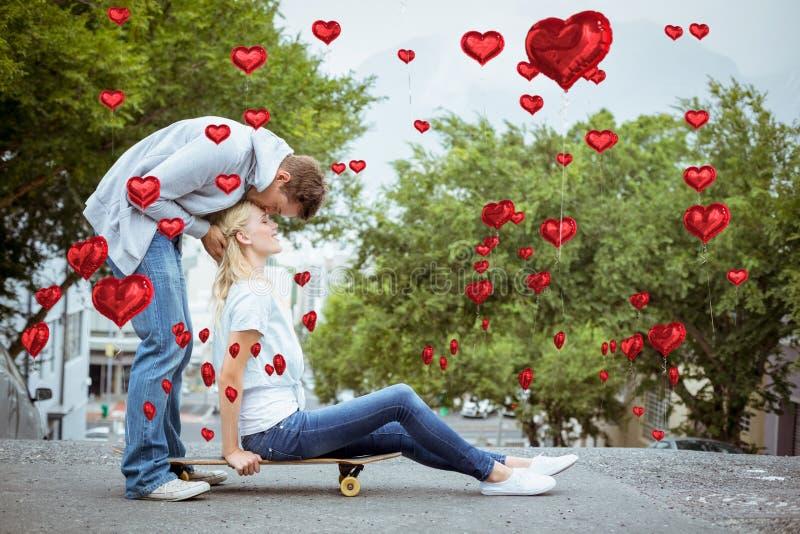 Złożony wizerunek śliczna valentines para ilustracji