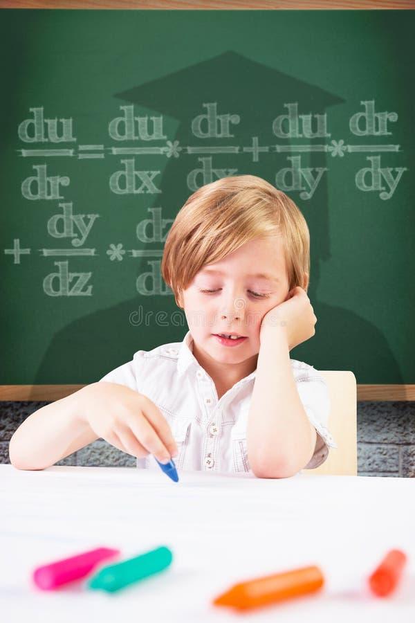 Złożony wizerunek śliczny chłopiec koloryt zdjęcia stock