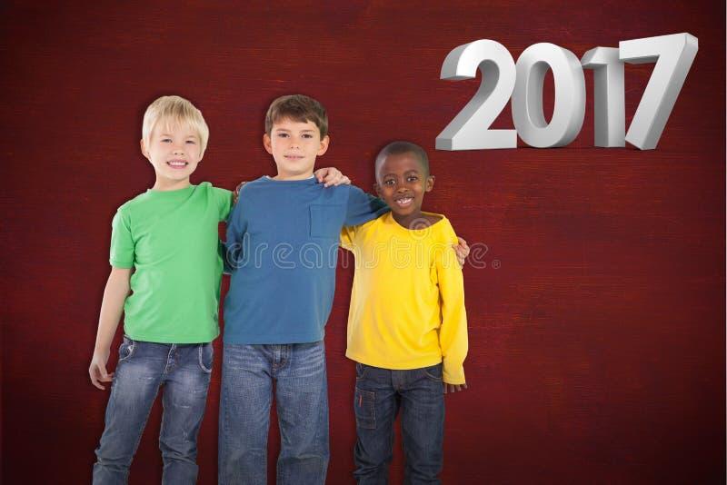 Złożony wizerunek śliczny dzieciaków ono uśmiecha się ilustracja wektor
