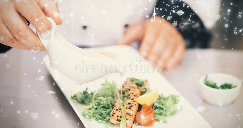 Złożony wizerunek śnieżny spadać zdjęcia royalty free