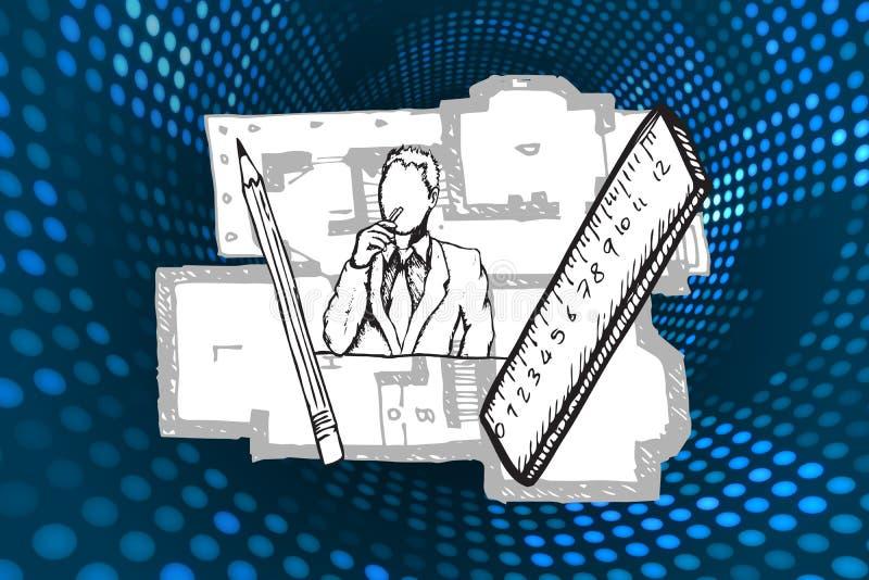Złożony wizerunek architekta doodle ilustracja wektor