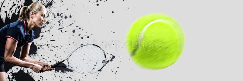 Złożony wizerunek bawić się tenisa z kantem gracz w tenisa zdjęcie stock