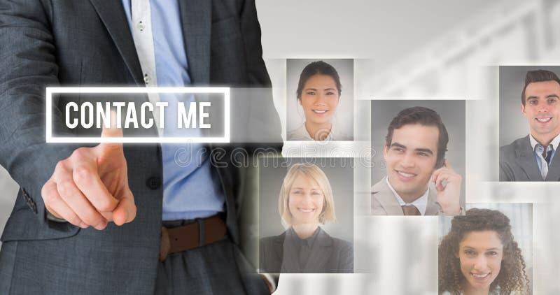 Złożony wizerunek biznesmen w popielaty kostiumu wskazywać fotografia stock