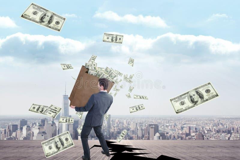 Złożony wizerunek biznesmena przewożenia torba dolary zdjęcie stock