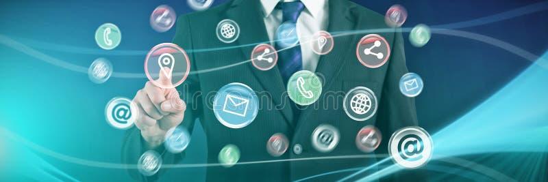 Złożony wizerunek biznesmena wskazywać i pozycja obrazy stock