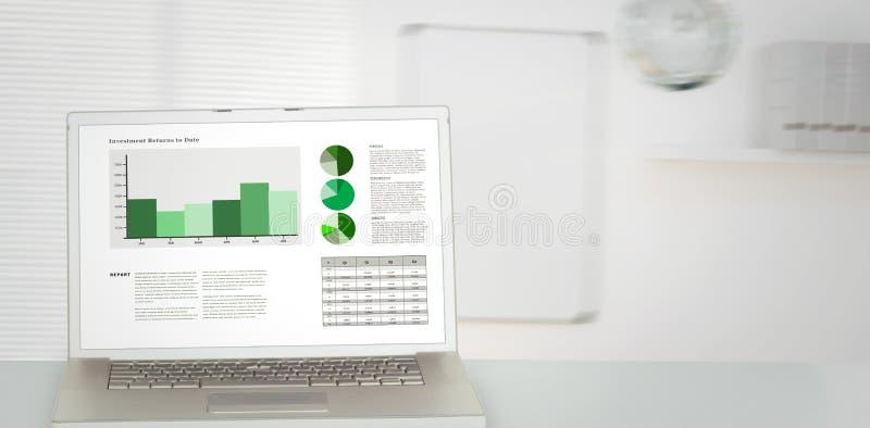 Złożony wizerunek biznesowy interfejs z wykresami i dane ilustracja wektor