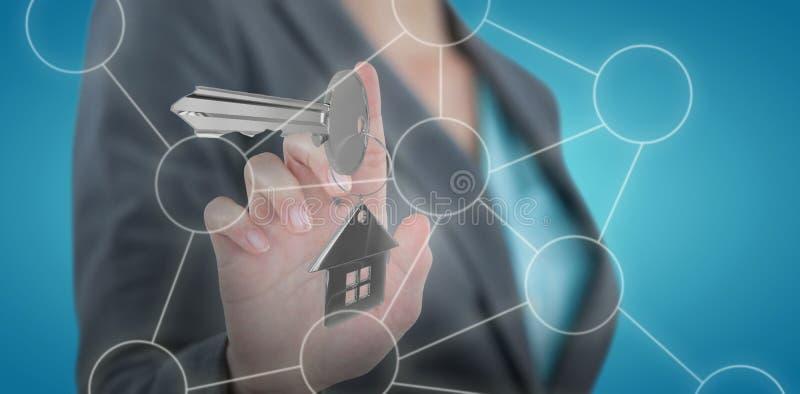 Złożony wizerunek bizneswoman używa niewidzialnego cyfrowego ekran 3D fotografia stock