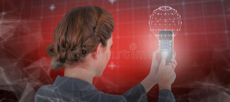 Złożony wizerunek bizneswoman używa telefon komórkowego obraz royalty free