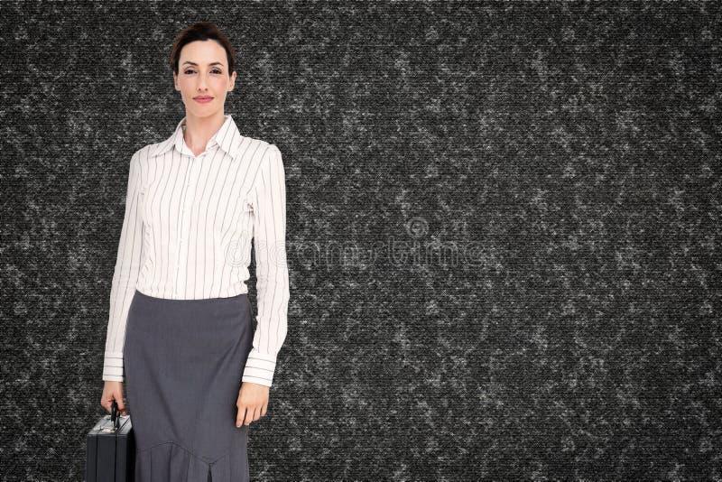 Złożony wizerunek bizneswomanu mienia teczka fotografia royalty free