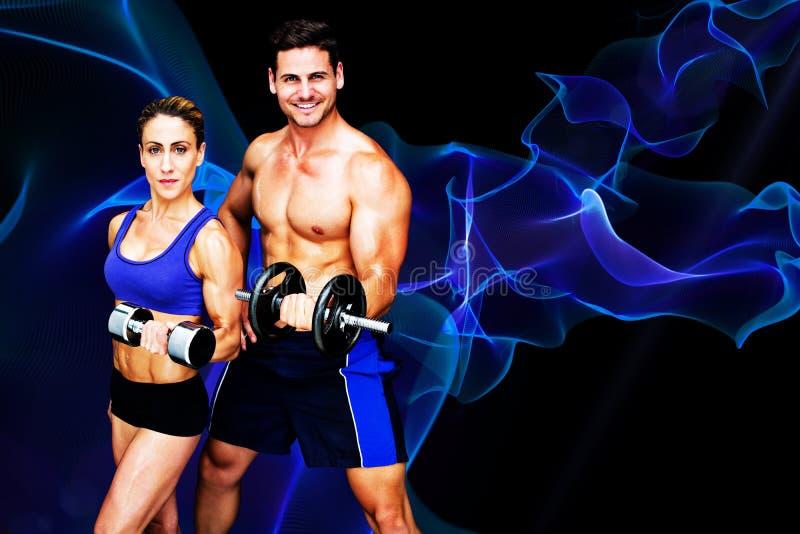 Złożony wizerunek bodybuilding para royalty ilustracja