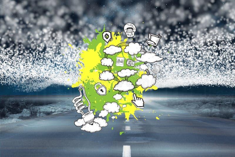 Złożony wizerunek brainstorm na farb pluśnięciach obrazy stock