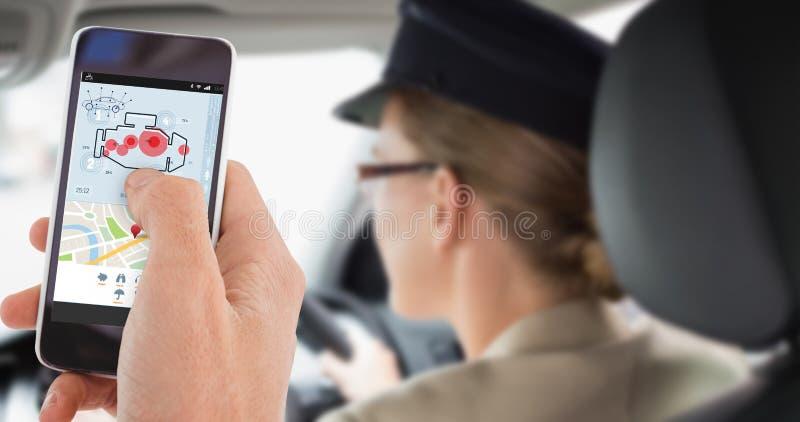 Złożony wizerunek cropped ręka mężczyzna używa telefon komórkowego zdjęcia royalty free