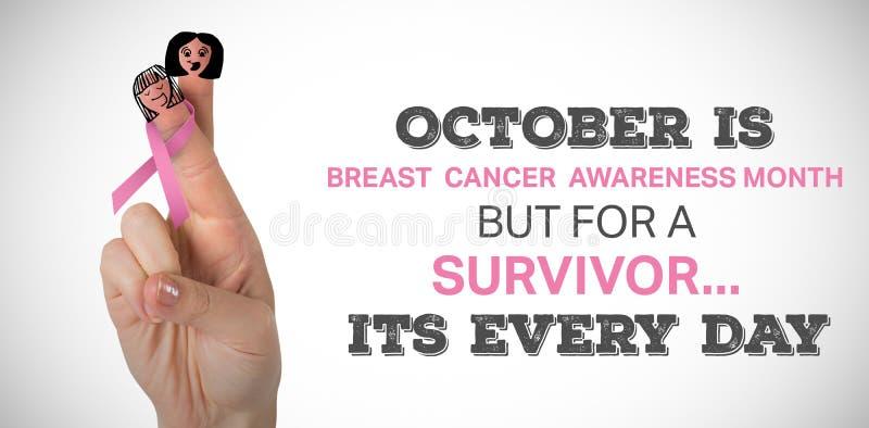 Złożony wizerunek cropped wizerunek ręka z różowym nowotwór piersi świadomości faborkiem fotografia stock