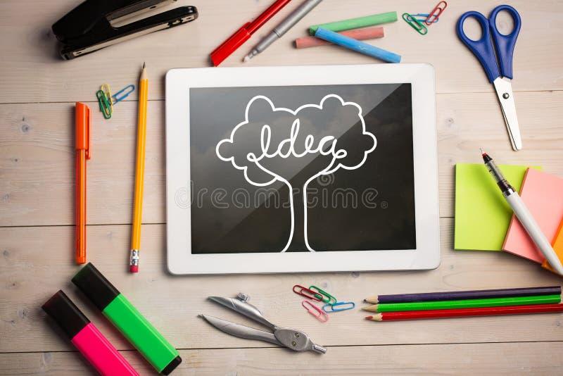 Złożony wizerunek cyfrowa pastylka na ucznia biurku ilustracji