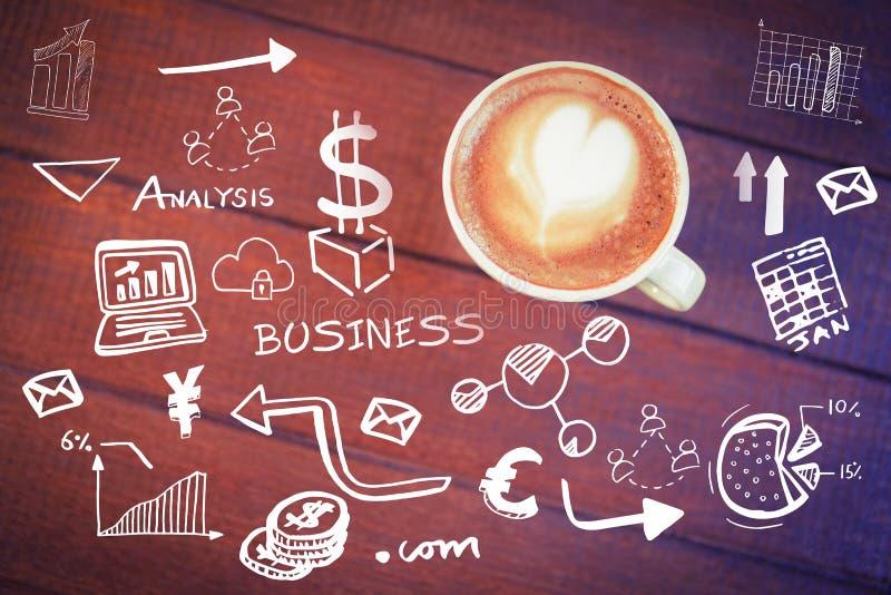 Złożony wizerunek cyfrowo wytwarzający wizerunek różnorodne biznesowe ikony ilustracji
