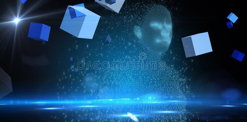 Złożony wizerunek cyfrowo złożona pixelated 3d kobieta obraz stock