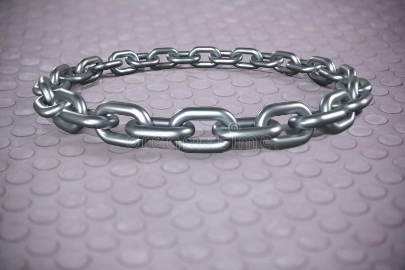 Złożony wizerunek 3d wizerunek round srebro łańcuch ilustracja wektor