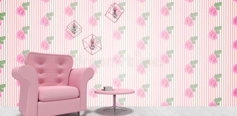 Złożony wizerunek dekoracja nad różowym karłem i stołem royalty ilustracja
