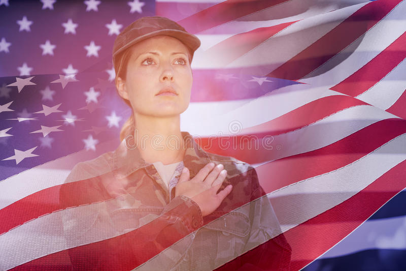 Złożony wizerunek falowanie flaga America ilustracja wektor