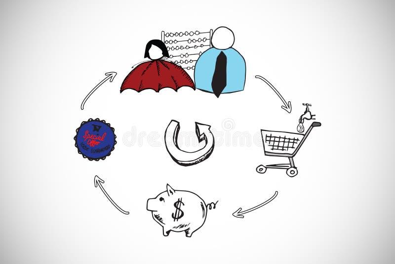 Złożony wizerunek finansowy flowchart doodle royalty ilustracja