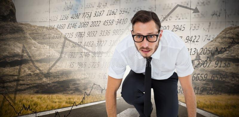 Złożony wizerunek geeky młody biznesmen przygotowywający ścigać się fotografia royalty free