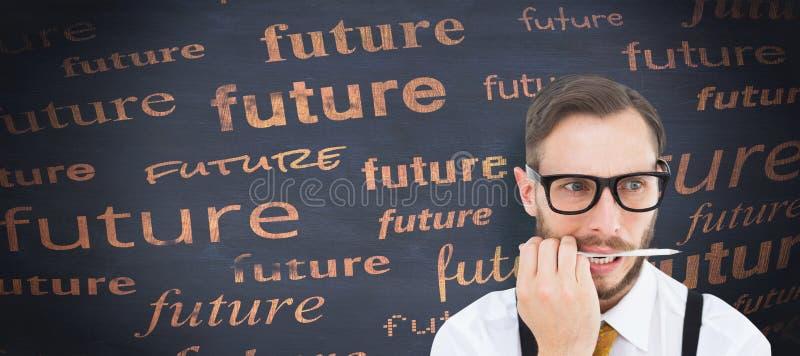 Złożony wizerunek geeky modnisia gryzienie na ołówku fotografia royalty free