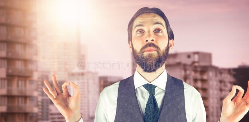 Złożony wizerunek gestykuluje ok szyldowego rozważny biznesmen zdjęcia royalty free