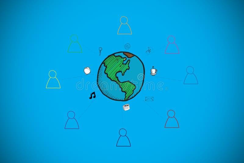 Złożony wizerunek globalny społeczności doodle ilustracja wektor