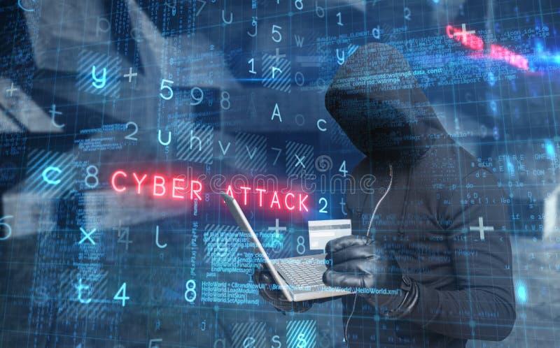 Złożony wizerunek hackera mienia laptop i credir karta zdjęcie royalty free