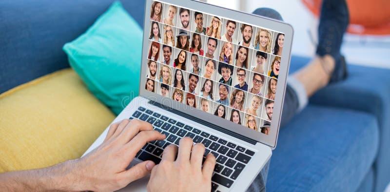 Złożony wizerunek ludzie kolażu portreta bardzo szerokiego zdjęcia royalty free