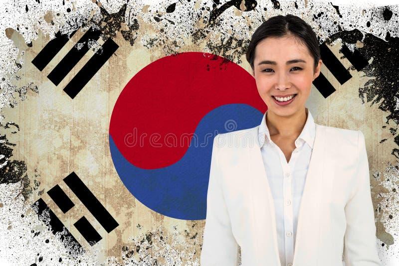 Złożony wizerunek mądrze ubierający uśmiechnięty bizneswoman zdjęcie royalty free