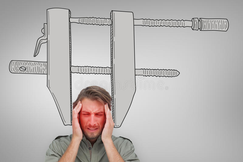 Złożony wizerunek mężczyzna z migreną fotografia royalty free