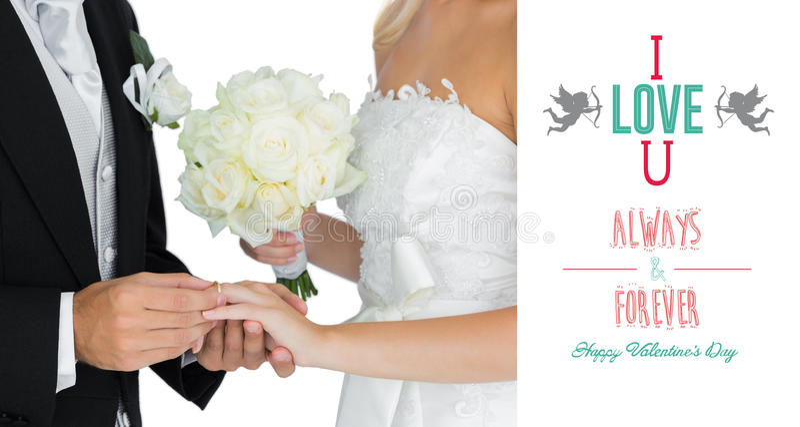 Złożony wizerunek młody nowożena kładzenie na obrączce ślubnej na jego wifes dotyka ilustracja wektor